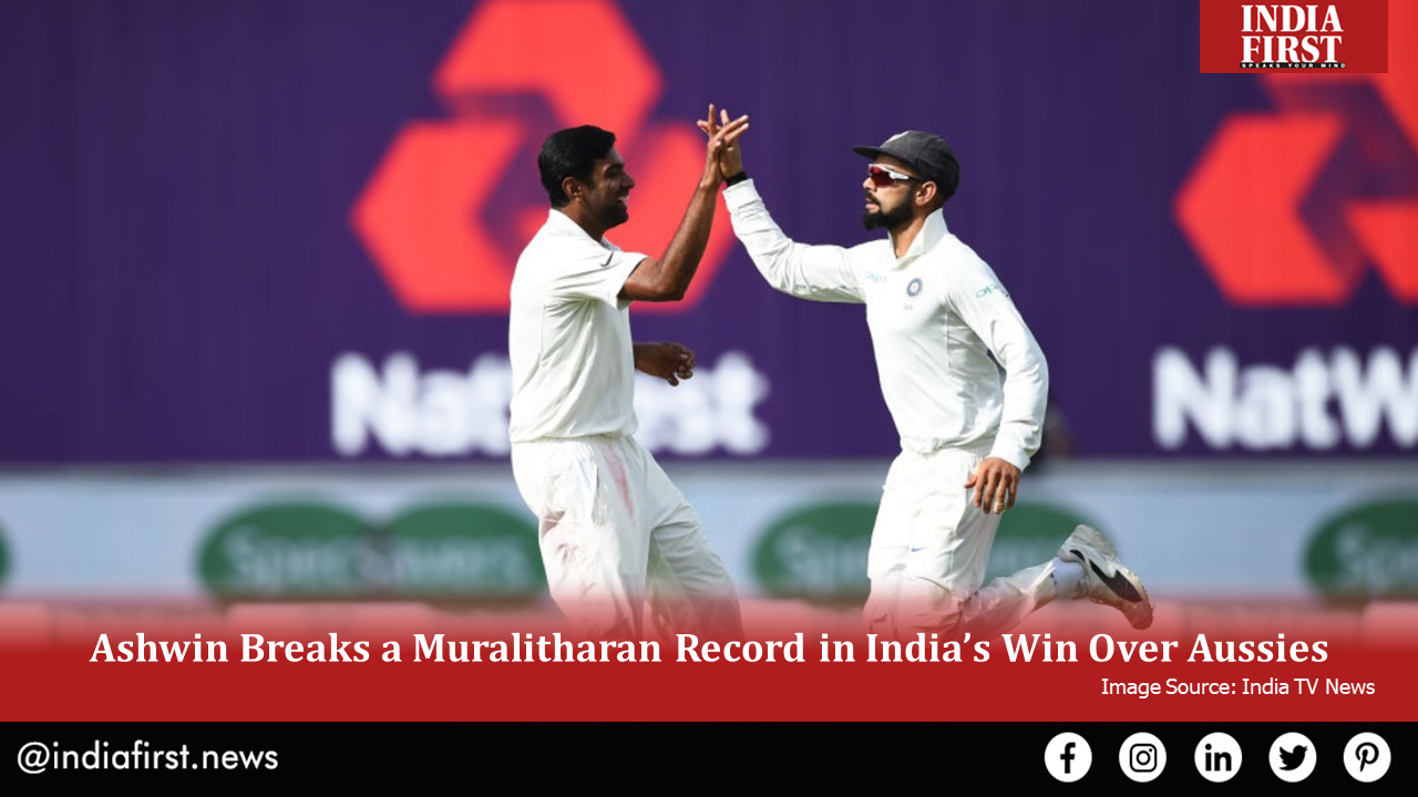 Ashwin Breaks a Muralitharan Record in India's Win Over Aussies